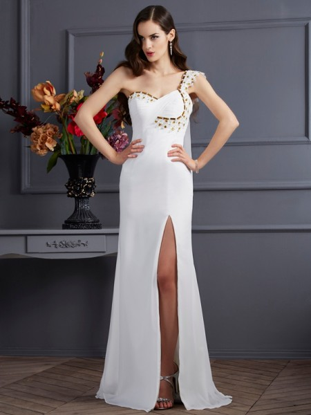 A-Line/Princess Ivory Chiffon Sweep/Brush Train Dresses with Beading