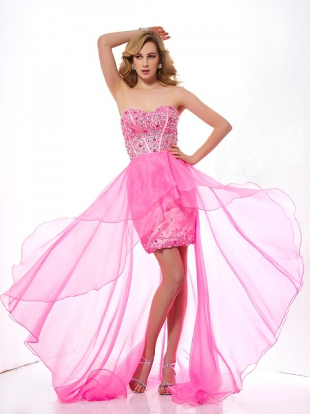 A-Line/Princess Fuchsia Organza Asymmetrical Dresses with Beading