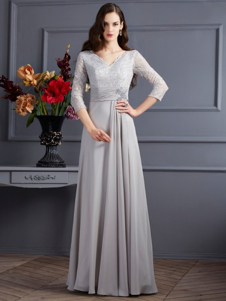 A-Line/Princess Grey Chiffon Floor-Length Mother Of The Bride Dresses with Applique