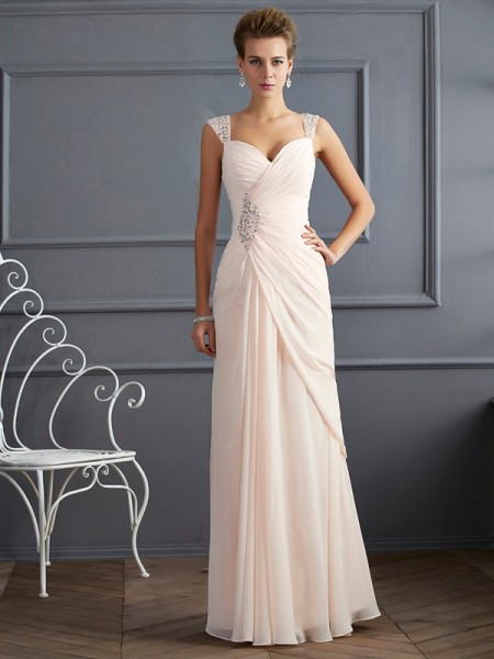 Sheath/Column Champagne Chiffon Floor-Length Dresses with Beading