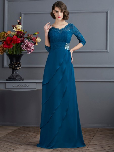 A-Line/Princess Dark Green Chiffon Floor-Length Mother Of The Bride Dresses with Other
