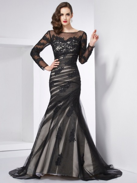 Trumpet/Mermaid Black Satin , Net Sweep/Brush Train Dresses with Applique