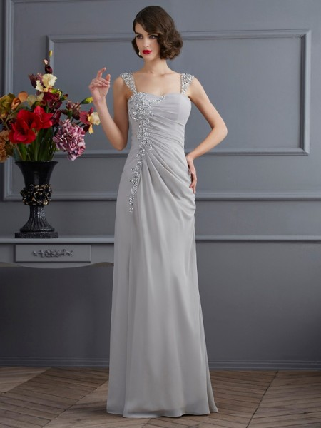 Trumpet/Mermaid Silver Chiffon Floor-Length Dresses with Beading