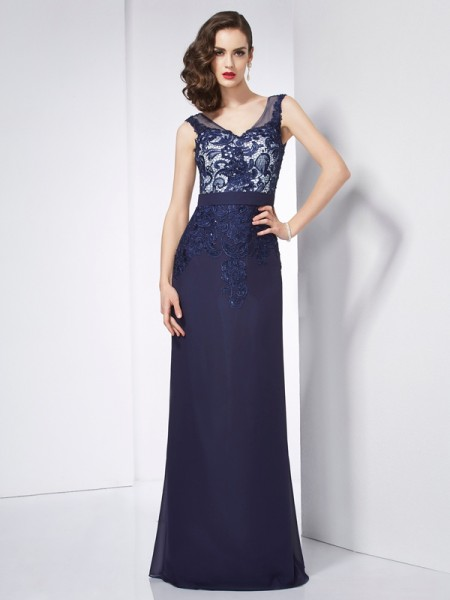 Sheath/Column Dark Navy Chiffon Floor-Length Dresses with Beading