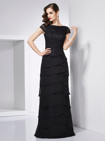 Sheath/Column Black Chiffon Floor-Length Dresses with Other