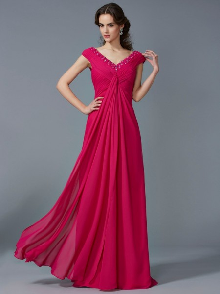 A-Line/Princess Fuchsia Chiffon Floor-Length Dresses with Beading