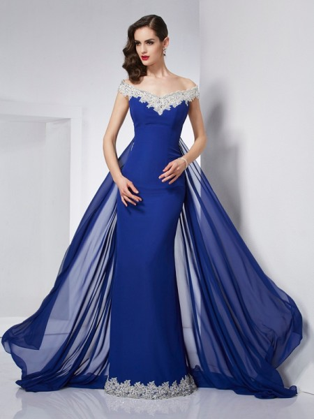 Trumpet/Mermaid Royal Blue Chiffon Floor-Length Dresses with Applique