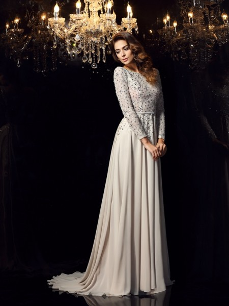 A-Line/Princess Grey Chiffon Court Train Dresses with Beading