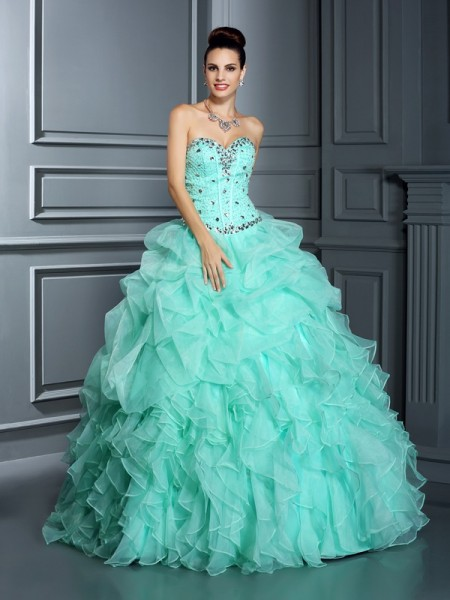 Ball Gown Sage Organza Floor-Length Dresses with Beading