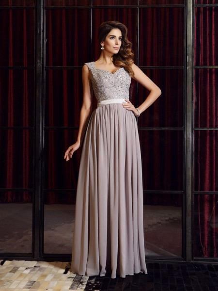A-Line/Princess Grey Chiffon Floor-Length Dresses with Applique