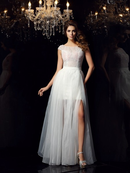 A-Line/Princess Ivory Tulle Floor-Length Dresses with Beading