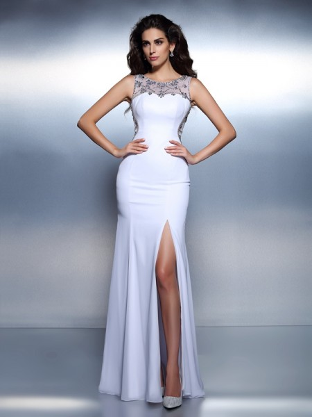 Trumpet/Mermaid White Chiffon Floor-Length Dresses with Beading