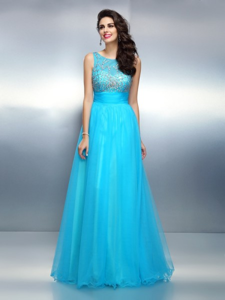 A-Line/Princess Blue Elastic Woven Satin Floor-Length Dresses with Beading