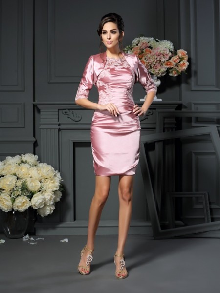 Sheath/Column Pearl Pink Elastic Woven Satin Short/Mini Mother Of The Bride Dresses with Applique