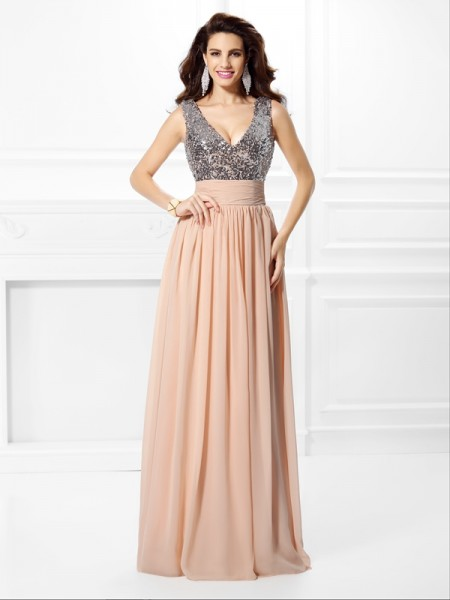 A-Line/Princess Pearl Pink Chiffon Floor-Length Dresses with Paillette
