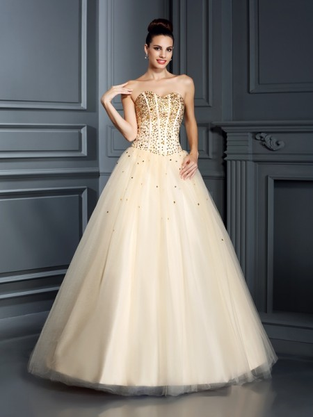 Ball Gown Champagne Satin Floor-Length Dresses with Beading
