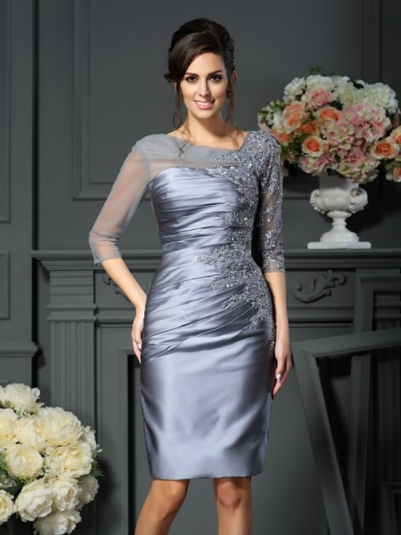 Sheath/Column Silver Satin Knee-Length Mother Of The Bride Dresses with Beading