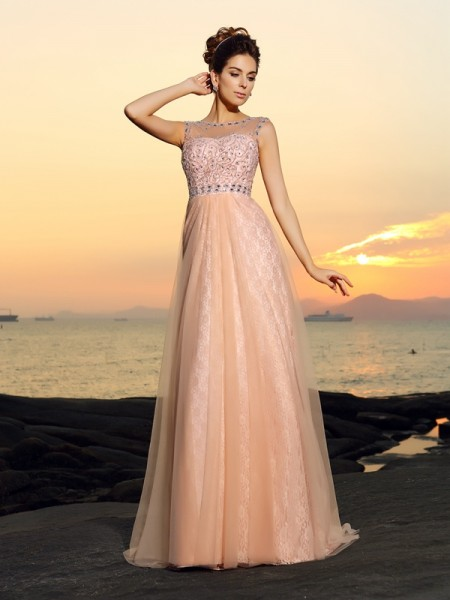 A-Line/Princess Pink Chiffon Floor-Length Dresses with Lace