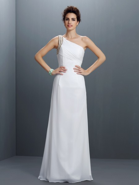 Sheath/Column Ivory Chiffon Floor-Length Dresses with Beading