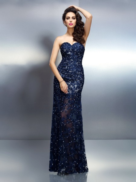 Trumpet/Mermaid Royal Blue Elastic Woven Satin Floor-Length Dresses with Beading