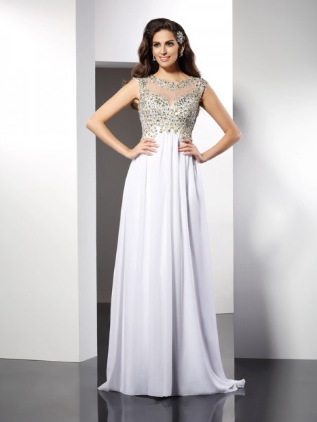 A-Line/Princess White Chiffon Floor-Length Dresses with Ruffles