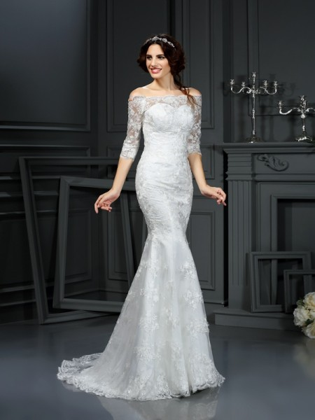 Sheath/Column Ivory Lace Sweep/Brush Train Wedding Dresses with Lace