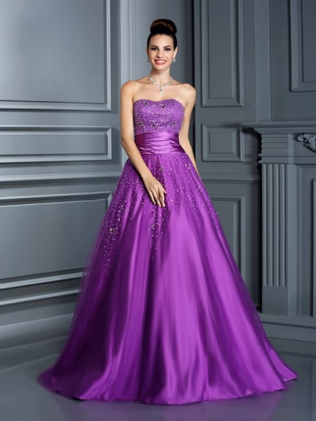 Ball Gown Regency Satin Floor-Length Dresses with Beading