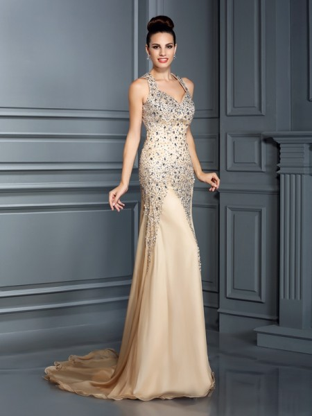 A-Line/Princess Champagne Chiffon Court Train Dresses with Beading