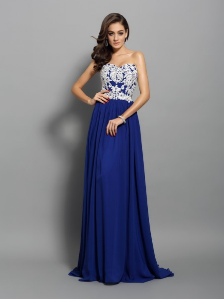 A-Line/Princess Royal Blue Chiffon Sweep/Brush Train Dresses with Applique