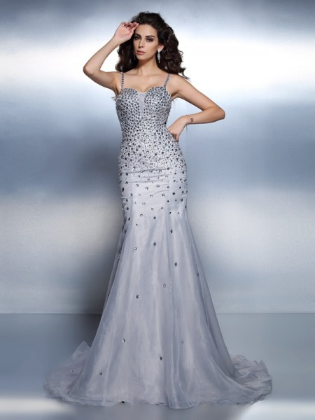 Trumpet/Mermaid Silver Organza Sweep/Brush Train Evening Dresses with Rhinestone