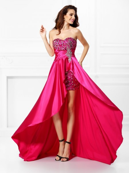 A-Line/Princess Fuchsia Elastic Woven Satin Asymmetrical Dresses with Beading