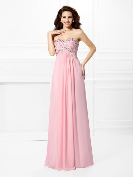 A-Line/Princess Pink Chiffon Floor-Length Dresses with Beading