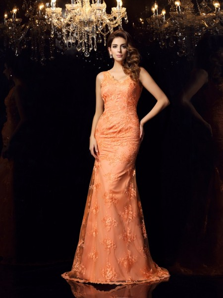 Trumpet/Mermaid Orange Satin Sweep/Brush Train Dresses with Applique