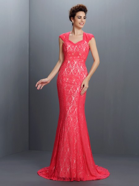 Trumpet/Mermaid Red Lace Sweep/Brush Train Evening Dresses with Lace