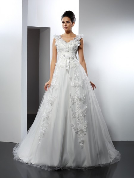 A-Line/Princess Ivory Satin Cathedral Train Wedding Dresses with Lace