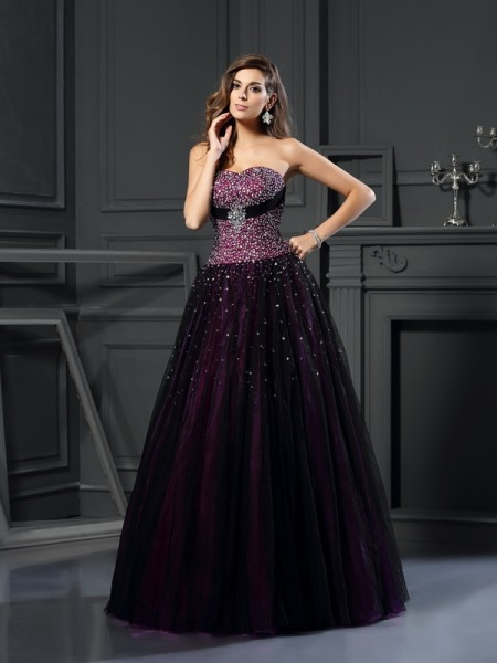 Ball Gown Grape Satin Floor-Length Dresses with Beading