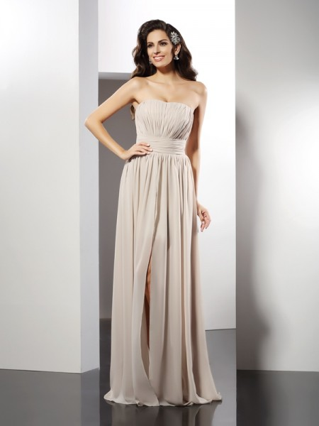 Sheath/Column Champagne Chiffon Floor-Length Dresses with Pleats