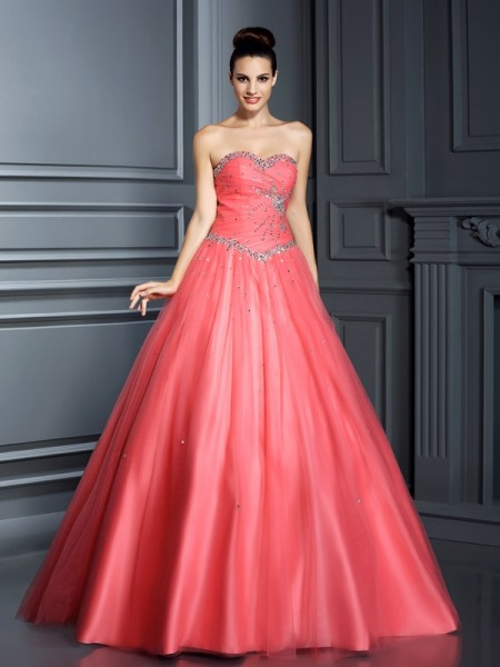 Ball Gown Watermelon Net Floor-Length Dresses with Beading