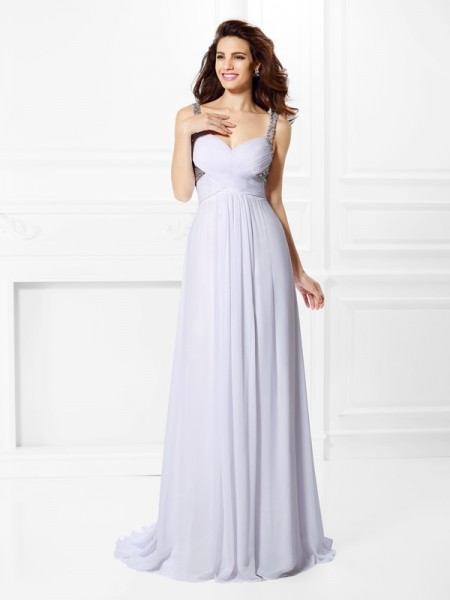 A-Line/Princess White Chiffon Floor-Length Dresses with Beading