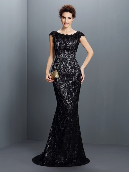 Trumpet/Mermaid Black Lace Sweep/Brush Train Evening Dresses with Lace