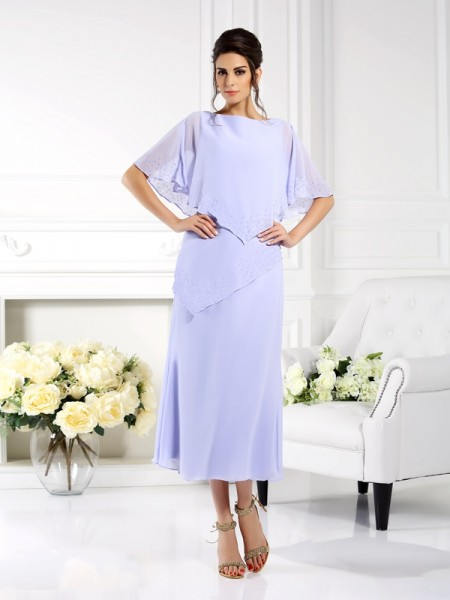 Sheath/Column Lavender Chiffon Ankle-Length Mother Of The Bride Dresses with Other