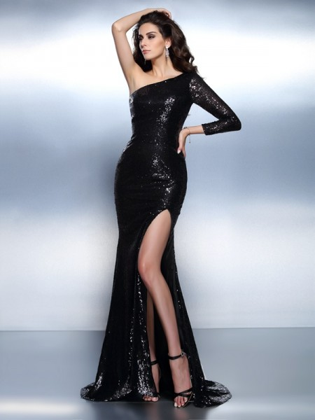 Trumpet/Mermaid Black Lace Sweep/Brush Train Evening Dresses with Paillette