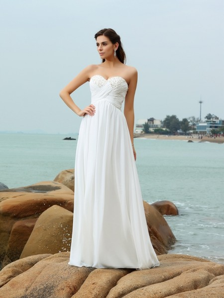 A-Line/Princess Ivory Chiffon Sweep/Brush Train Wedding Dresses with Beading