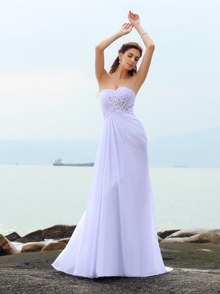 Sheath/Column White Chiffon Chapel Train Wedding Dresses with Beading