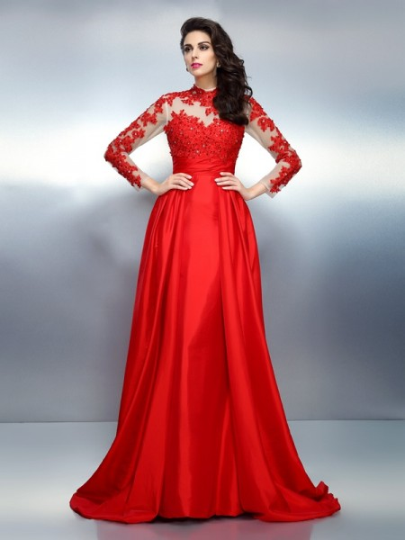 A-Line/Princess Red Satin Sweep/Brush Train Evening Dresses with Applique
