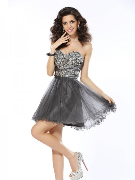 A-Line/Princess Silver Net Short/Mini Homecoming Dresses with Ruffles