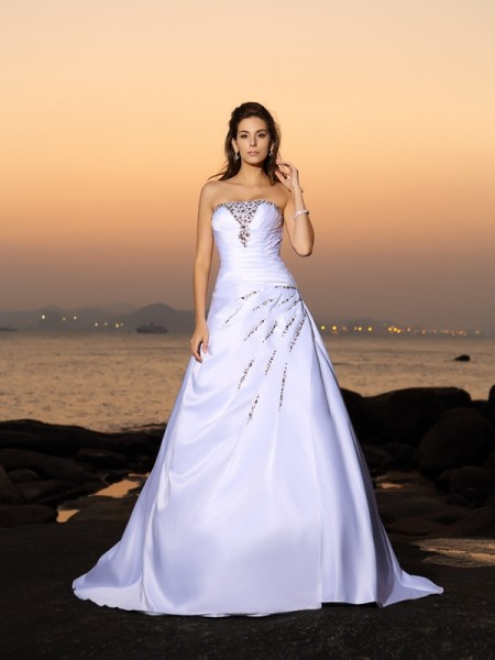 A-Line/Princess Ivory Satin Chapel Train Wedding Dresses with Beading