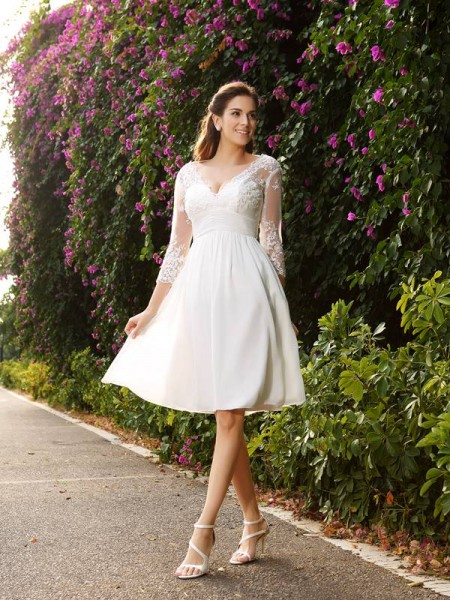 A-Line/Princess Ivory Chiffon Knee-Length Wedding Dresses with Other