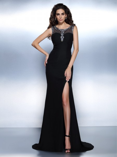 Trumpet/Mermaid Black Chiffon Sweep/Brush Train Evening Dresses with Beading