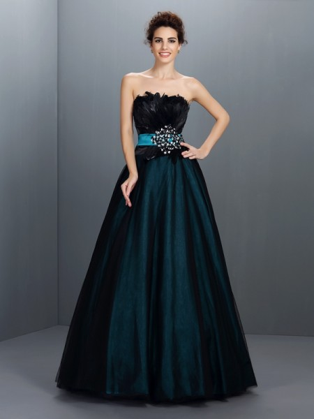 Ball Gown Dark Green Elastic Woven Satin Floor-Length Dresses with Feathers/Fur